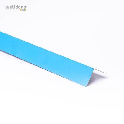 Foliebleck, (5 x 5) x 200 cm. Vinkelmodell. Blå.