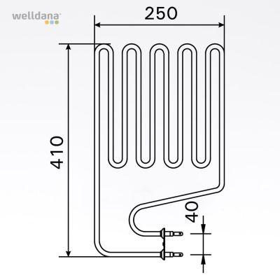 Bastuaggregat 1500 W, 230 V Terminaler i sidan.