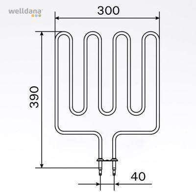 Bastuaggregat 2000 W, 230 V Terminaler i botten.