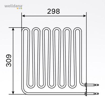 Bastuaggregat 2670 W, 230 V Terminaler i sidan.