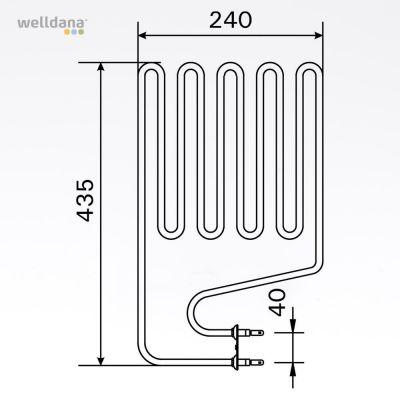 Bastuaggregat 2150 W, 230 V Terminaler i sidan.