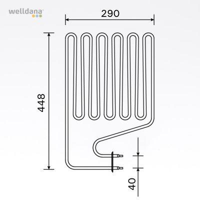 Bastuaggregat 2500 W, 230 V Terminaler i sidan.
