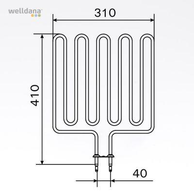 Bastuaggregat 2670 W, 240 V Terminaler i botten.